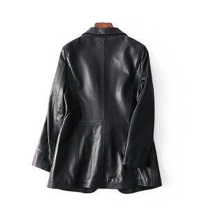 Image 2 - OFTBUY 2020 office ladies blazer feminino elegant blazer women blazers and jackets real sheepskin leather jacket black coat