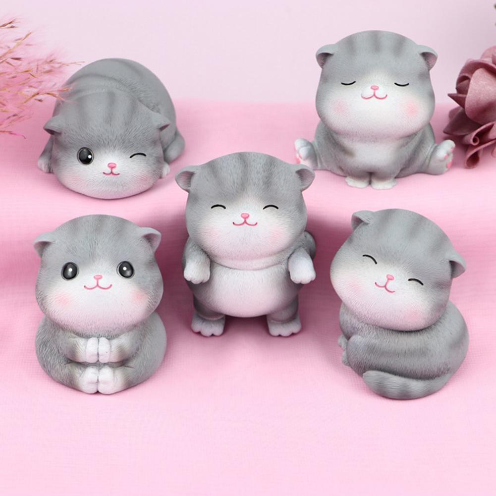 Cartoon Cat Resin Miniature Figurine Micro Landscape Garden Car Dashboard Decor Figurines Crafts Decoration