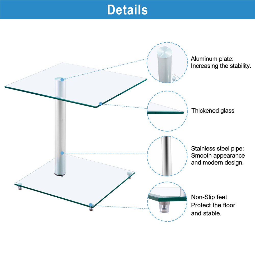 Home Side Tables Furniture Clear Glass End Table Living Room Table 2 Tier Square Glass Minimalist Office Magazine Storage Shelf - 5