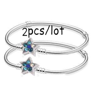 Boosbiy 2pc Dropshipping Shining Blue Star Snake Chain Charm Bracelets For Women Jewelry Gift DIY Fashion Charm Bracelet