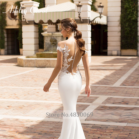 Ashley Carol Sexy V-neckline Beading Soft Satin Mermaid Wedding Dress 2019 Vintage Backless Bride Dress Romantic Wedding Gowns Islamabad
