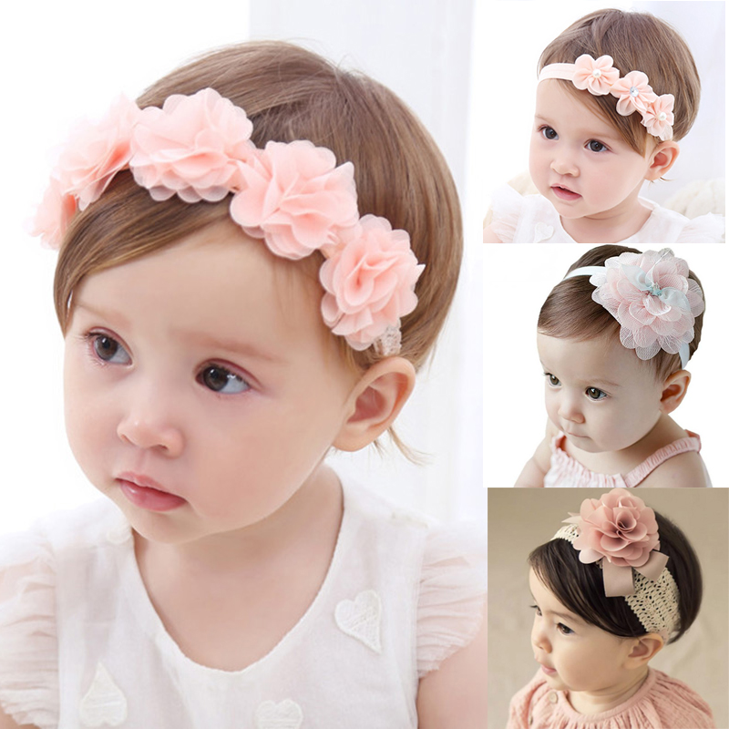 Baby Headband Ribbon-Hair-Bands Hair-Accessories Turban Newborn Flower-Girls Pink