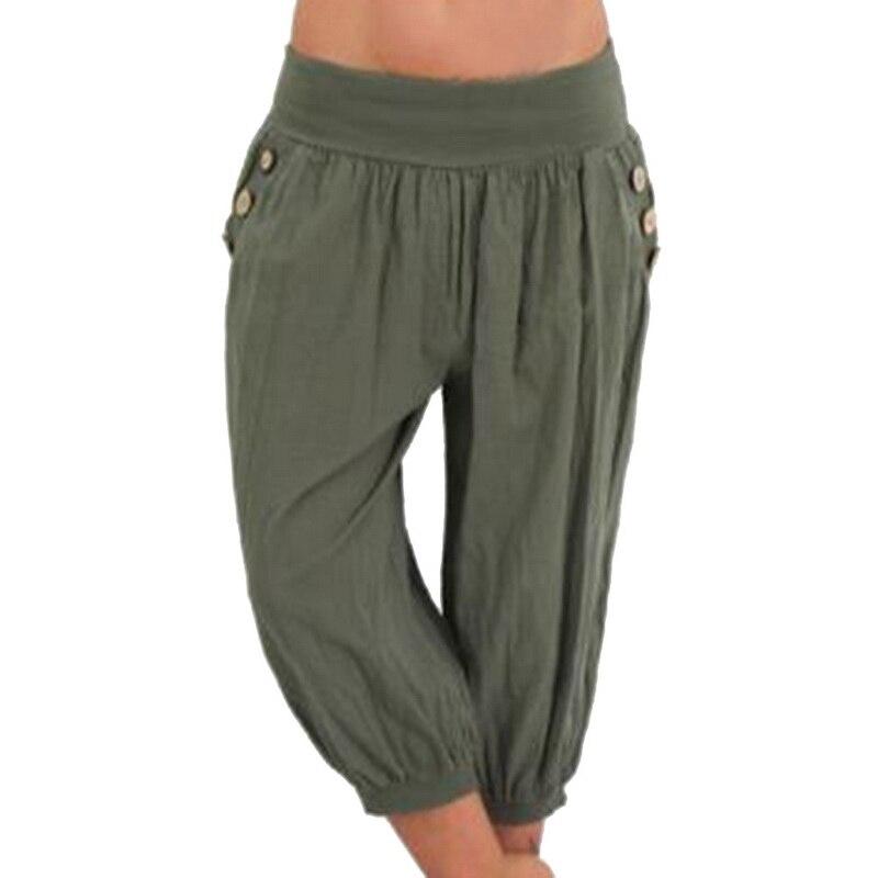 New Women's Fashion Cotton Linen Short Trouser Pants Women's Solid Color Seven Casual Loose Capri Pants Plus Size 5XL