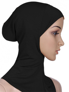 Image 2 - Gorros deportivos musulmanes para niñas, Hijab, para interiores, Islamic, suaves, elásticos, bajo la bufanda, sombreros, estilo clásico cruzado, venta al por mayor