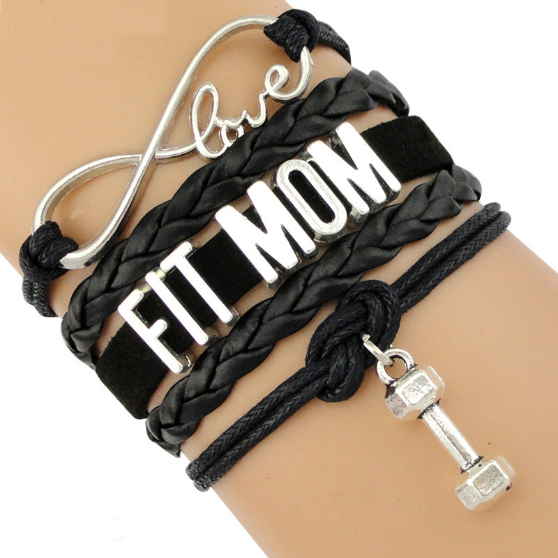 Fitness Fit Mom Bracelets Gym Addict Aerobic Training Weight Lifting Protein BBG Dumbbell Barbell Trainer Crossfit