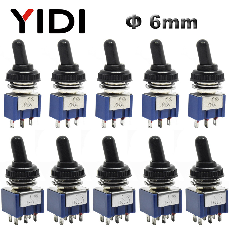 5pcs 10pcs MTS-102 103 MTS-202 203 Toggle Switch 6A 125VAC On On SPDT 6mm Mini Switch DPDT On Off On Waterproof Cap