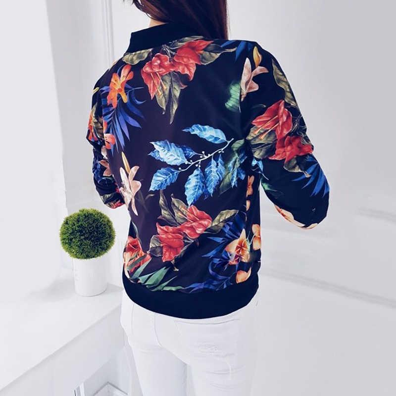 Damskie kwiatowy Print kurtka Bomber zamek błyskawiczny w górę Retro płaszcz wiosna 2019 z długim rękawem na co dzień z daszkiem krótki płaszcz Plus rozmiar 5XL