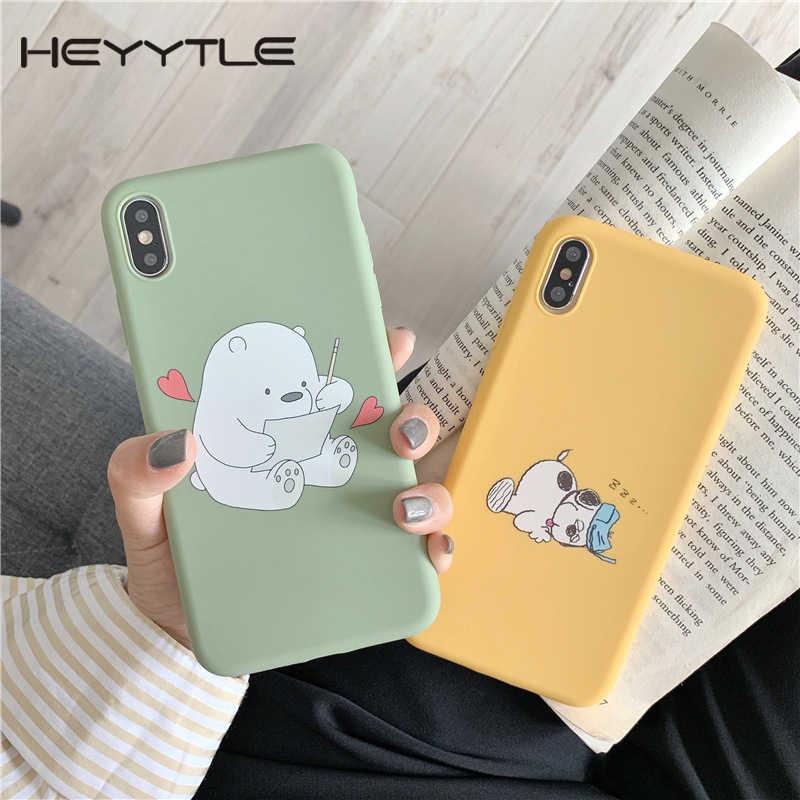 Heyytle Kartun Hewan Dicat Case untuk iPhone 7 7 Plus 6 6 S X Penutup Belakang Animasi Lembut TPU Case untuk iPhone X Max XR 9 Fundas