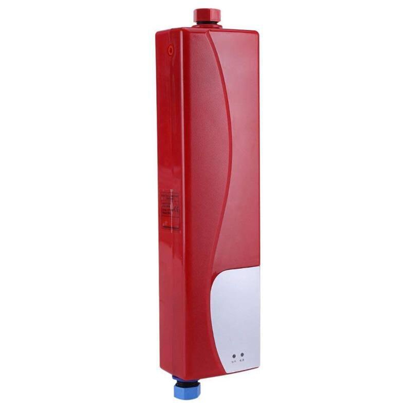 Mini calentador de agua electrónico de 3000 W, sin tanque, con válvula de aire, 220 V, con enchufe europeo, para casa, cocina, baño, rojo, AC220-240V 6 orificios de Gas de la estufa de pulso de la chispa de encendido eléctrico piezas del calentador de agua seguro de alta calidad