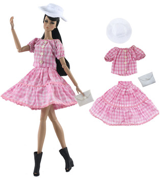 Pink Lattice Dress Outfit Set for Barbie 1/6 30cm BJD FR Doll Clothes Accessories Play House Dressing Up fur coat dress outfit set for barbie 1 6 bjd sd doll clothes accessories play house dressing up costume