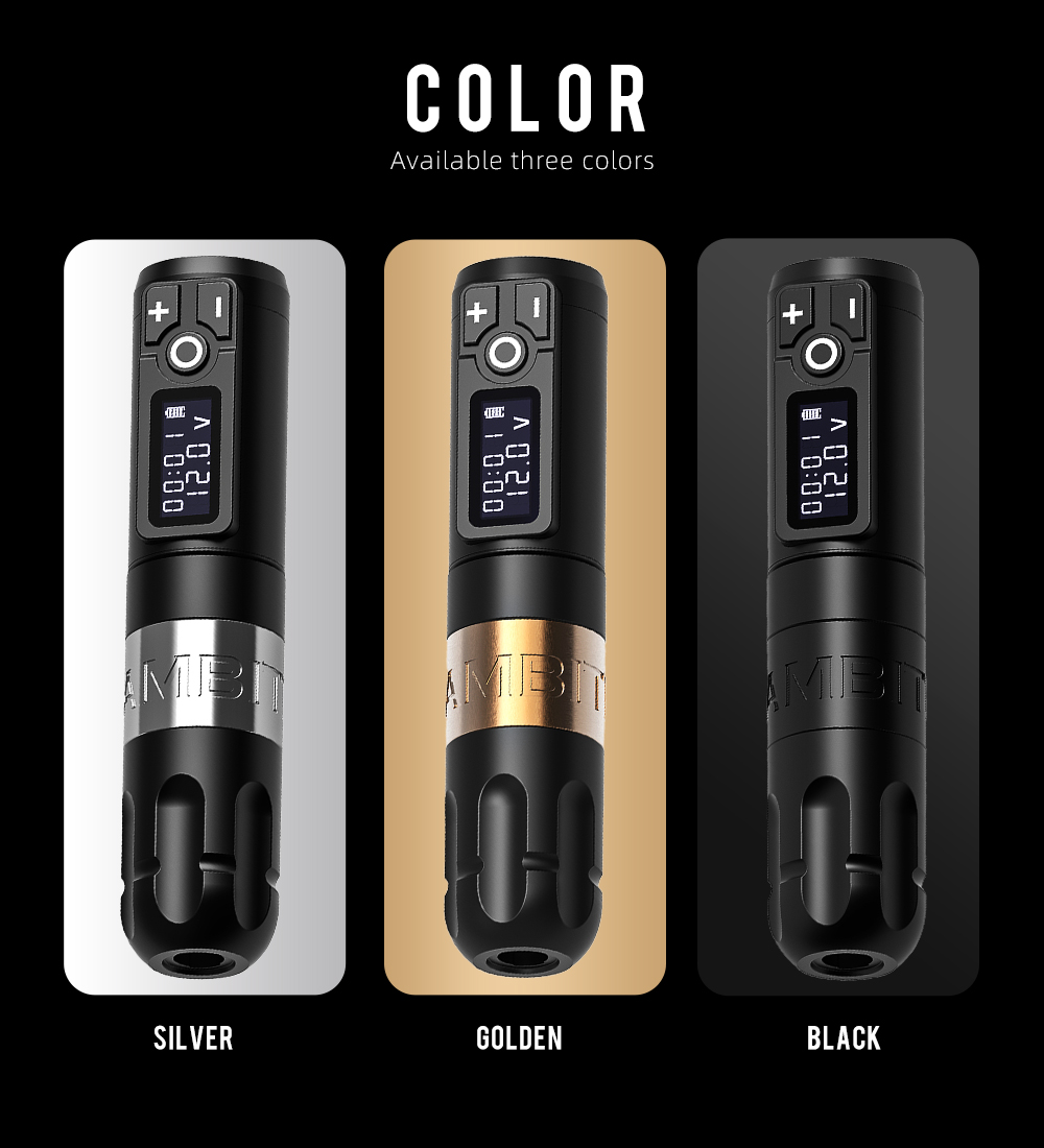 Ambition Soldier Wireless Tattoo Machine Battery Pen with Portable Power Brushless Motor Digital LED Display Tattoo Equipment