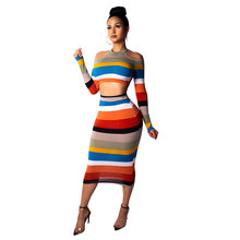 Women Sexy Off Shoulder two-piece Set Dress Striped printed Long Sleeve Bodycon 2 piece Mid Autumn And Wnter