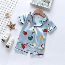 Summer Satin Silk Baby Clothes Sleepwear Toddler Kids Baby Boy Girl Floral Strawberry Pajamas Sets Sleepwear Tops Short Outfit