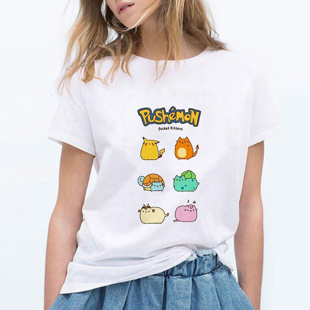 Pocket Kittens Pikachu Tshirt Popular Anime Pokemon Yellow Graphic Tees Japan Cartoon Print Vogue T Shirt Women Plus Size Femme