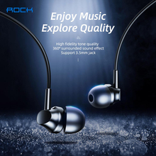 ROCK Stereo Bass In Ear Headset For Xiaomi Earphone 3.5mm with Microphone Wired Music Earphone for Samsung iPhone Ear Phone anime my neighbor totoro in ear earphone 3 5mm stereo earbud microphone phone music game headset for iphone samsung xiaomi mp3