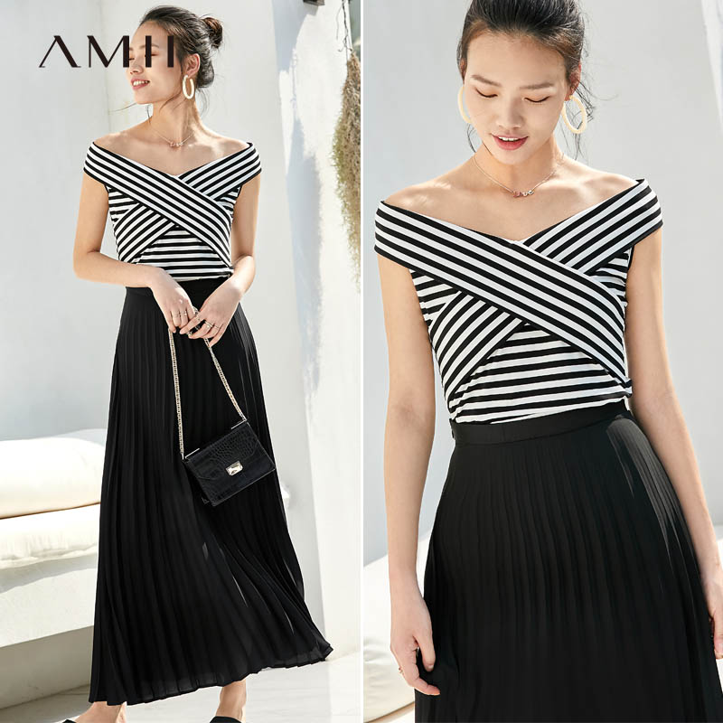 Amii Sexy Striped T-Shirt Summer Women Cross Bandage Off-the-shoulder Slim Fit Female Tops  11940244