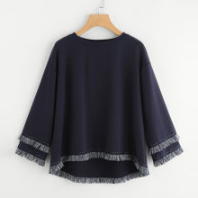 Sweatshirt Womens Solid Long Sleeve Blouses Fringe Tassel O-Neck Blouse Women's Sweatshirts Poleron Sudadera Con Capucha L807(China)