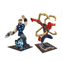 DIY Assemable Marvel Figure Spiderman Building Blocks Children Toys Educational Micro Diamond Model Bricks Kids Gifts