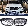 Автомобильная Бриллиантовая передняя решетка Geetha, гоночный гриль для BMW X1 F48 F49 2016 2017 2018 2019, решетки в стиле метеорита, автостайлинг, детали