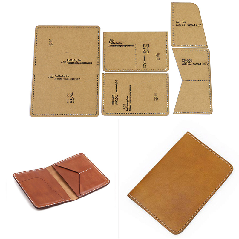 1 Set DIY Leather Handmade Passport Holder Double Card Storage Bag Sewing Pattern Hard Kraft Paper Stencil Template 10cm*15cm