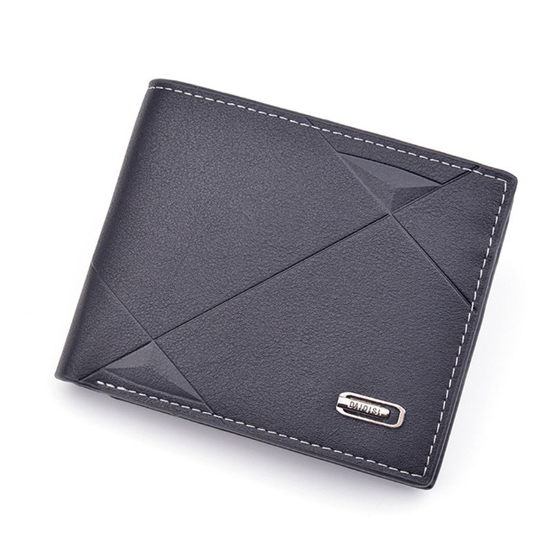 New Men's Short Wallet Fashion Casual Purse Designer Luxury PU Mini Wallet Men's Youth Thin Tri-fold Cross Section Soft Purse 20