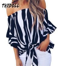 womens tops and blouses Chiffon blouse women fashion off shoulder new design sexy stripe blouse women blusas mujer new dew shoulder design clothes the horn sleeve beautiful stripe girls blouses