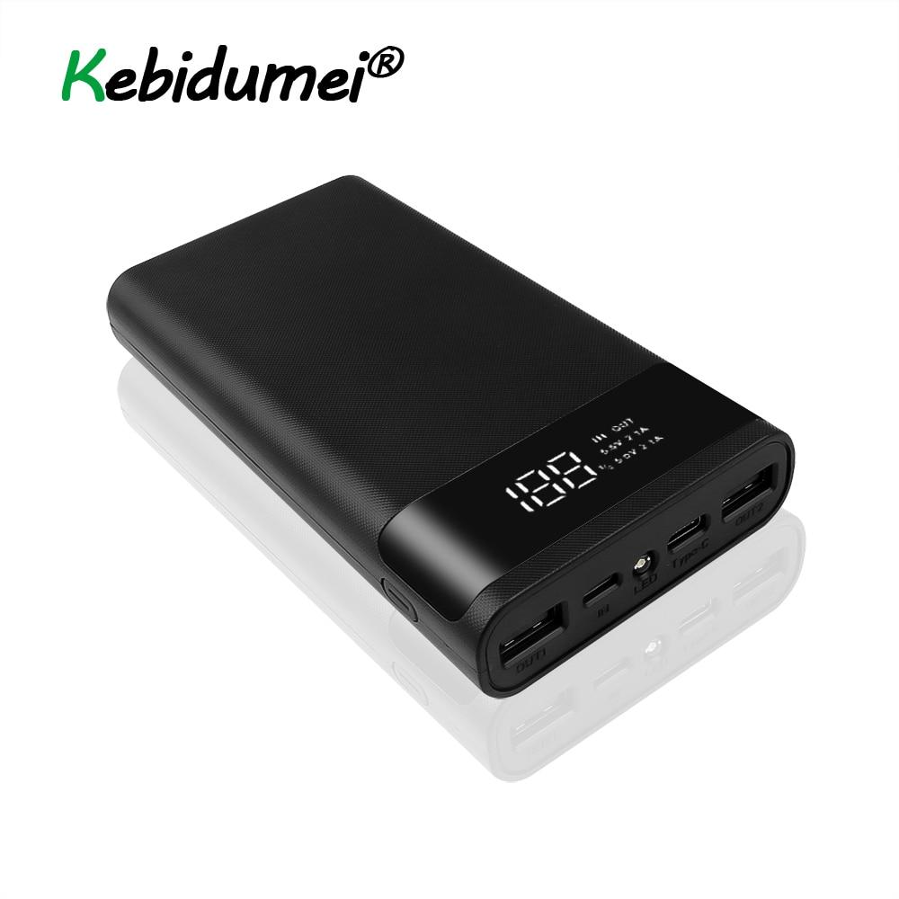 Carga rápida Banco de Alimentación Caja Kit Dual 2 USB QC3.0 2 entradas de tipo C 9V//12V 5x18650