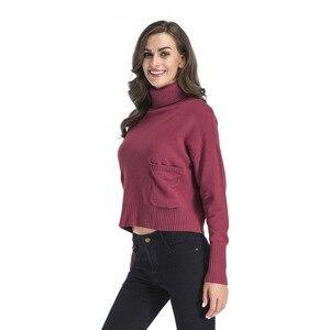 Image 2 - Jerseys de mujer sólidos de cuello alto de INSINBOBO suéteres sueltos de punto Otoño Invierno ropa Casual jerseys