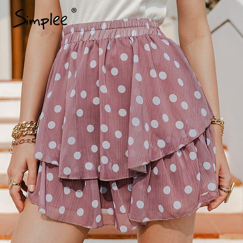 Simplee Elegante polka dot print frauen mini rock Streetwear rüschen A-line rock weiblichen Frühling sommer urlaub damen röcke neue