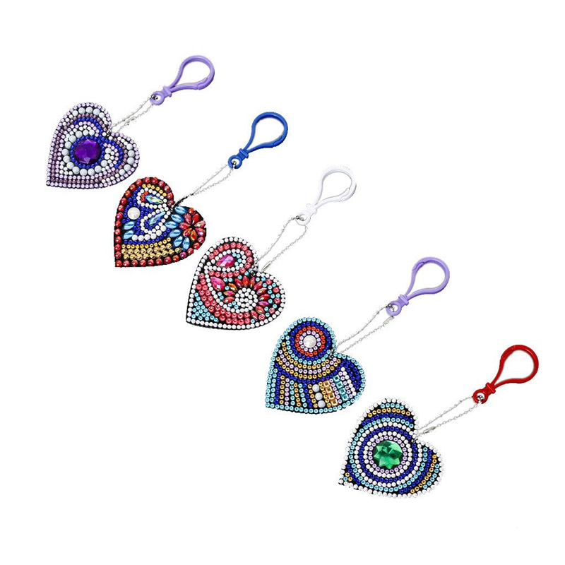 Hot Set Of 5 Diamond Painting Keychain, 5D Making Diy Full Drill Special Shape Diamond Painting Keychain Key Ring Phone Charm (H
