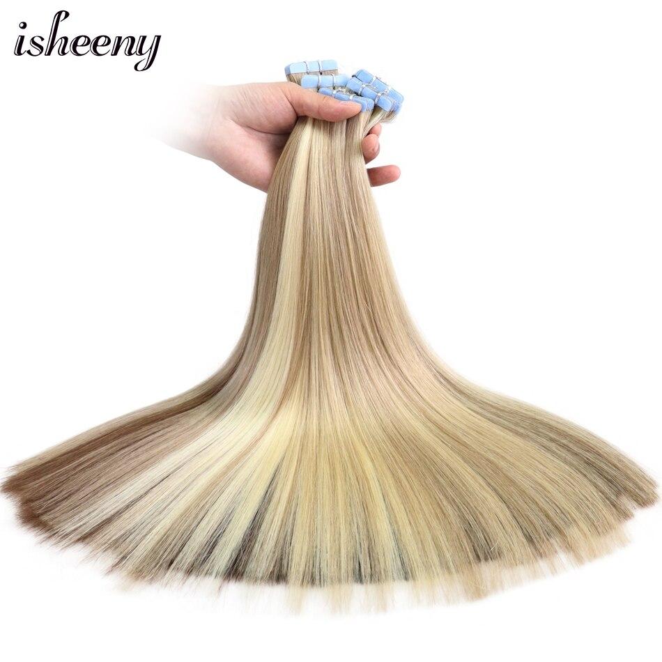 """Isheeny-extensiones de cabello humano con cinta de pelo Remy europeo Premium, 14 """"18"""" 22 """", 20 Uds., 40 Uds. De Color Natural"""