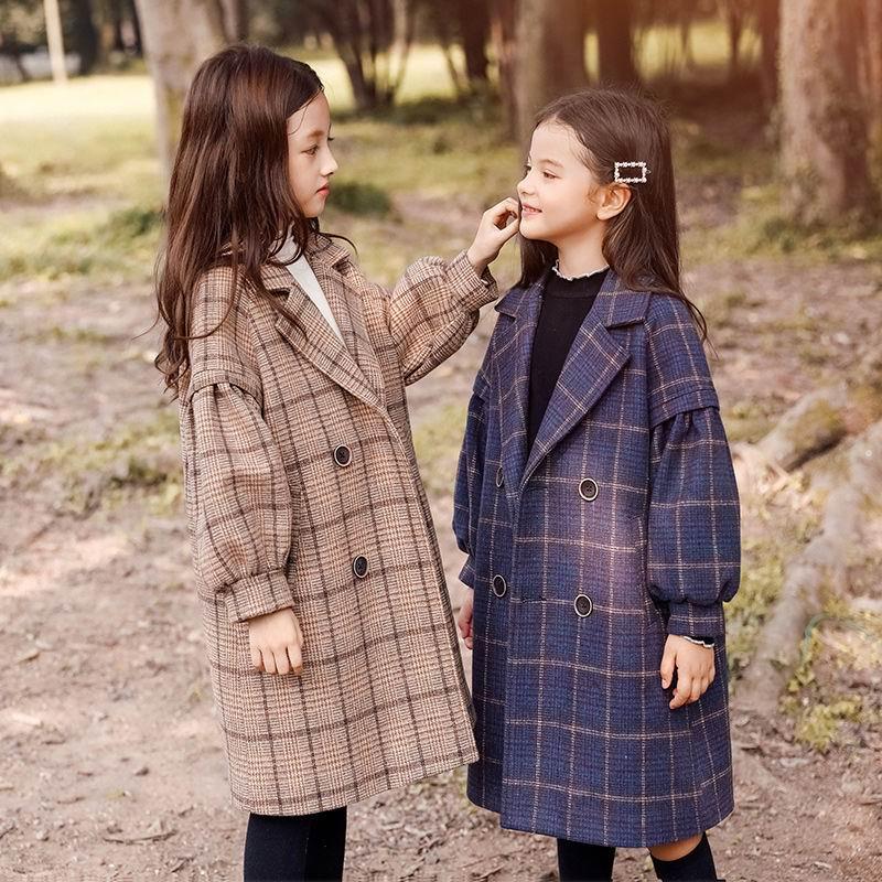 4 6 8 10 12 Years Children Girls Khaki Trench Outerwear Winter Girls Thicken Plaid Jackets Woolen Long Parka Teenager Warm Coat