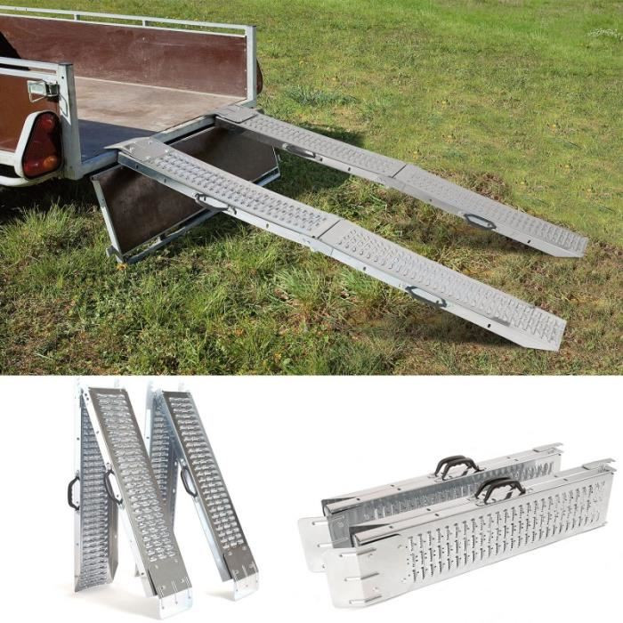 Folding Steel Loading Ramp Perforated Skid Loading And Unloading Ramp 400kg Car Short Bed Motorcycle Ramps Car Accessories HWC