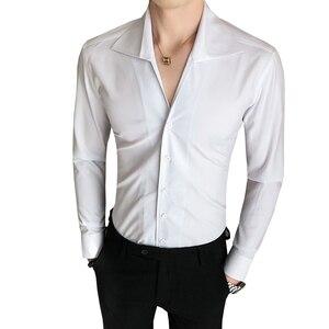 Image 5 - Yüksek kaliteli erkek gömlek katı moda 2020 uzun kollu smokin gömlek elbise Slim Fit Turn Down yaka Casual sosyal gömlek erkekler 3XL