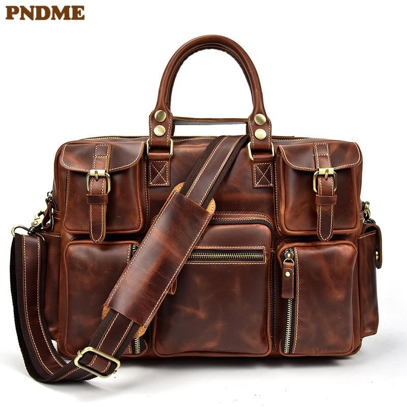 PNDME Retro Multi Pocket High Quality Genuine Leather Men's Briefcase Travel Large Capacity Laptop Bag Shoulder Messenger Bags