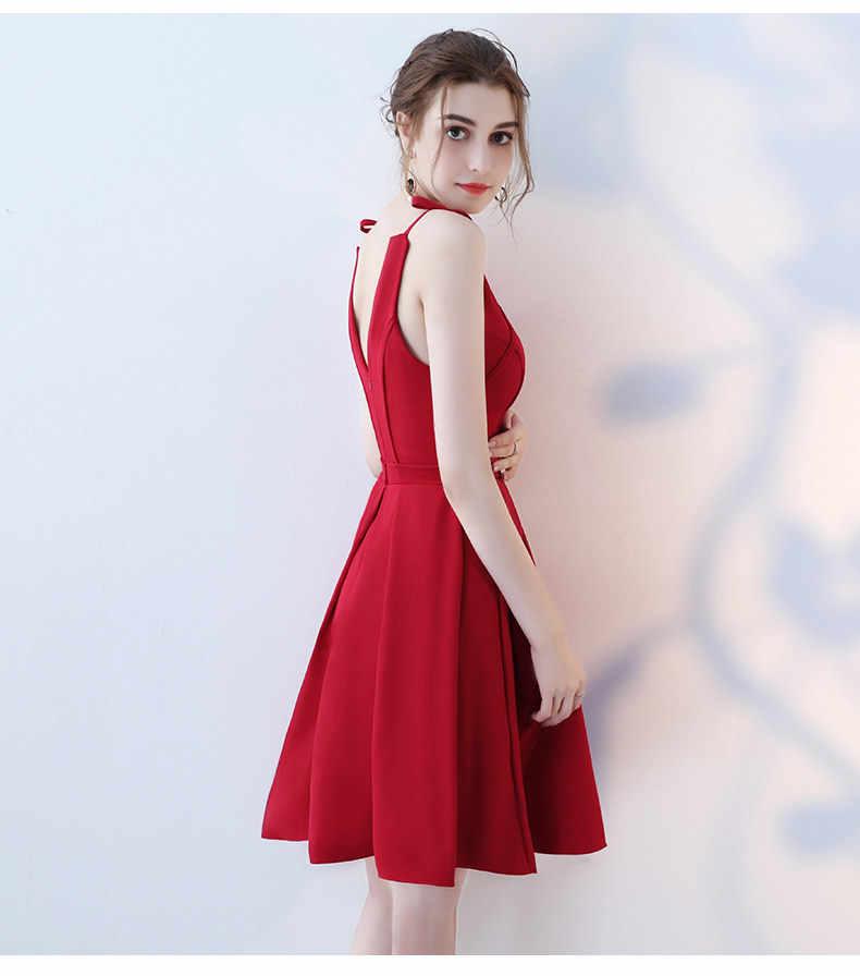 Kobiety sukienka na imprezę lato czerwony Bodycon V neck backless elegancka na co dzień Midi sukienka obiad druhna plisowana spódnica Plus rozmiar