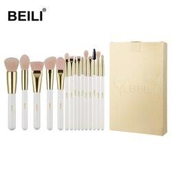 BEILI Pearl White Gold Professional Make up Brushes Pink Nano wool Fiber Hair Cruelty free Makeup brush set