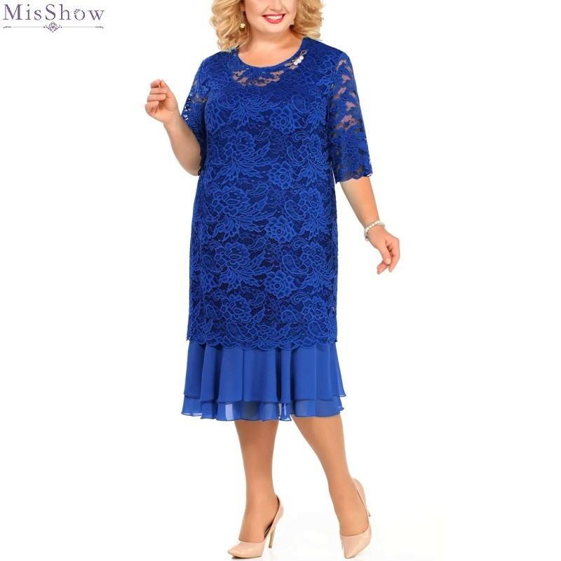 Plus Size Royal Blue Lace Evening Dress 2020 Elegant Tea Length Two Piece Formal Gown A Line Half Sleeve Robe De Soiree