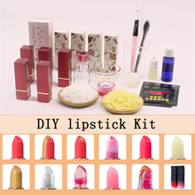 DIY lipstick kit 42 colors lipstick pigment powder Silicone Lipstick Mold Handmade lipstick set kit  drop ship aluminum lipstick mold diy 2 cavities hole aluminum alloy lipstick fill mold eagle mouth shape for 12 1mm tube