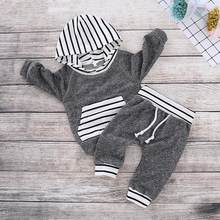 PatPat Autumn and Winter New Newborn Cotton Casual Stripe Design Long-sleeved Hoodie and Pants Suit Baby Boy Crawling Suit(China)