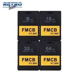 Retrocaler clássico preto livre mcboot v1.966 8mb/16mb/32mb/64mb cartão de memória para ps2 console