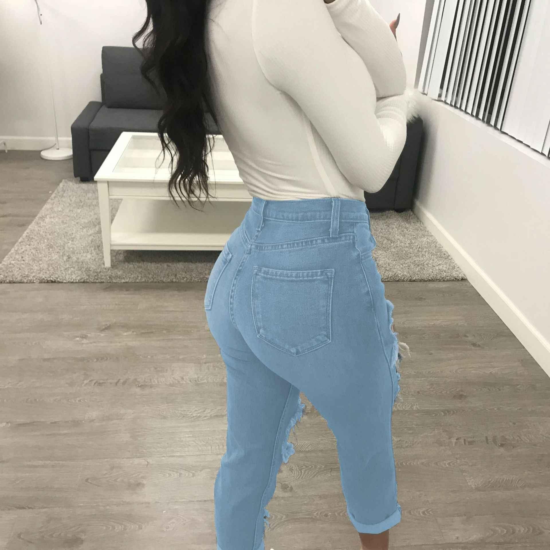 Tmustobe Jeans Rasgados Para Damas Vintage Calidad Jeans Mujer Vaqueros Slim Elasticos De Corte Alto Casual Lavado Pantalones Pitillo Pantalones Vaqueros Aliexpress