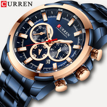 CURREN New Mens Fashion Casual watch For Men Date Quartz Wrist Watch Sport Chronograph Mesh Steel Student Watch relojes hombre(China)