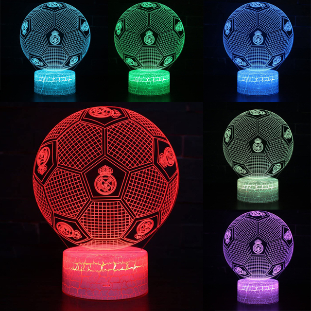 3D 7 Color USB Crack Touch Football Light LED Table Lamp Children Birthday Christmas Gift Bedroom Office Bedside Decoration Gift