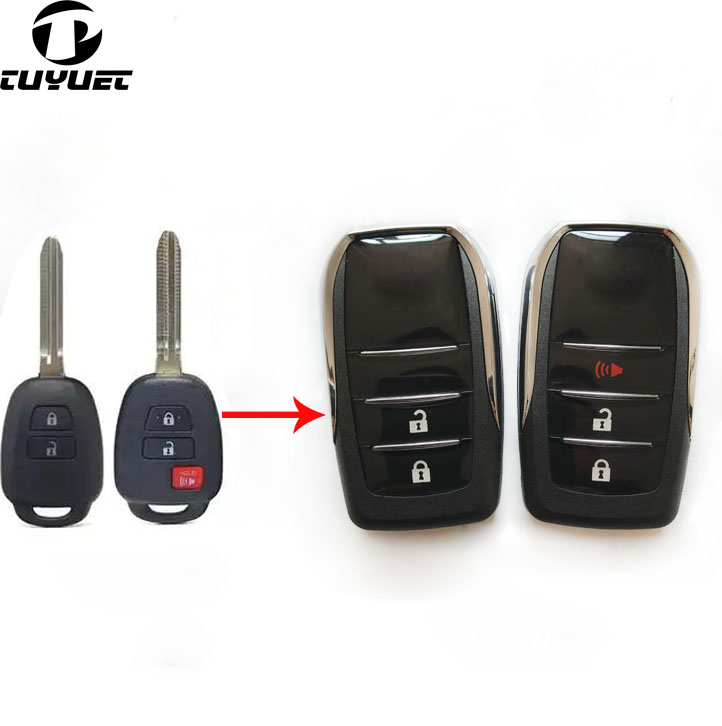 Modified Flip Folding <font><b>Remote</b></font> <font><b>Key</b></font> Shell For <font><b>Toyota</b></font> <font><b>YARIS</b></font>,VIOS Prado Blank <font><b>Key</b></font> Shell with Toy43 Blade with sticker image