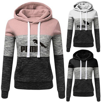 Women Sweatshirts Autumn Winter Hoodies Long Sleeve Patchwork Hooded Pullover Casual Tops O-neck Sweatshirt Female Outwear S-4XL autumn winter hoodies women sweatshirts 2019 heart print hooded long sleeve sweatshirt casual pocket pullovers female tops hot