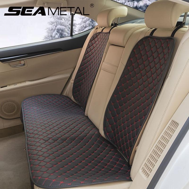 Conjunto de fundas de cuero para asiento de coche Protector de asiento delantero y trasero para las cuatro estaciones, almohadilla de cojín de asiento de coche, alfombrilla, accesorios interiores universales para automóvil