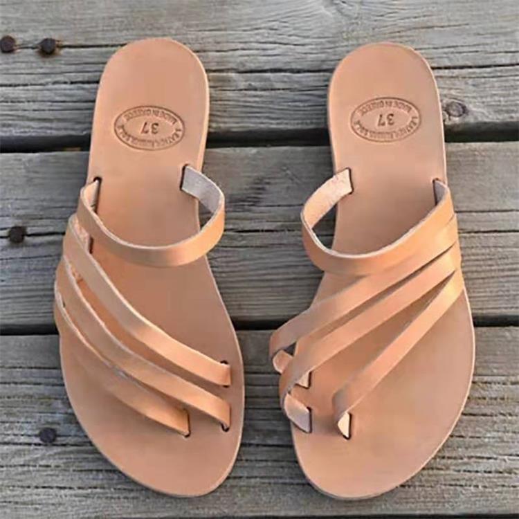 confortável plana de fundo toe sandálias plus size 35-43