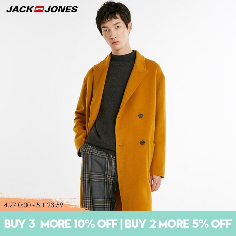JackJones  autumn winter men's pure Color woolen overcoat|218427516