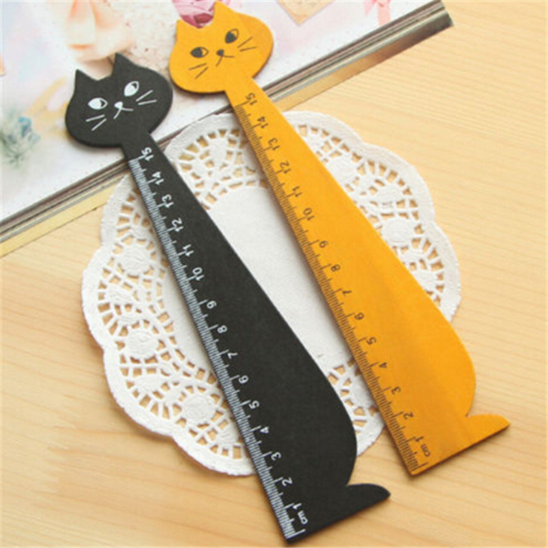 1Pcs 15cm Cat Shaped Ruler Wooden Cartoon Cat Straight Rulers Gifts For Kids School Drawing Stationery Supplies